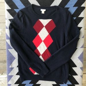 J. Crew - argyle sweater in navy and red